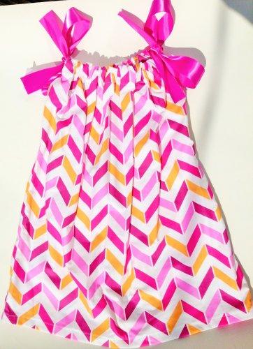 PNK ORG CHEVRON Handmade Infant/Toddler Dress/Blouse 2-3T