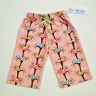 PINK GRN BIRD Handmade Infant/Toddler Lounge Pants 6-12MO