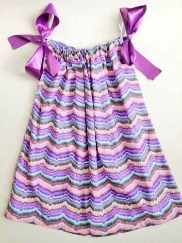 PURPLE MULTI CHEVRON Handmade Infant/Toddler Dress       3-4T