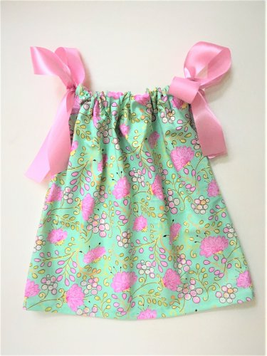 GREEN PINK FLOWER Handmade Infant/Toddler Dress/Blouse    18-24MO