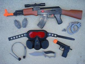 AK47 Combat Mission Playset: AK47 Toy Gun, Gas Mask, Pistol, Knife, H/C, Grenade Slices