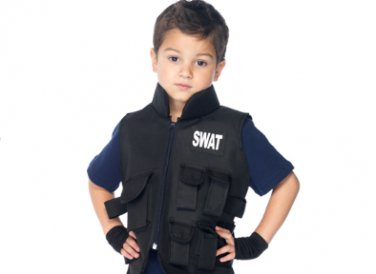 Kids SWAT Commander Tactical Vest, Fingerless Gloves + FREE Handcuffs
