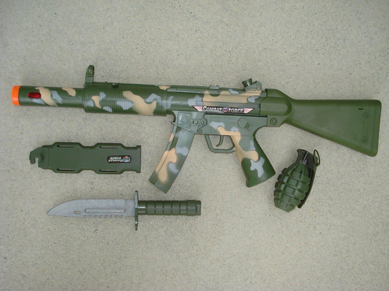 Combat Force Military Toy Gun Play Set: Army Camo Machine Gun, Knife, Sheath, Grenade