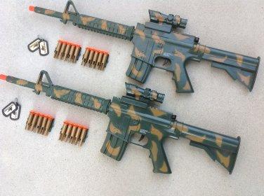 2 M-4 Camo Dart Gun Rifles with 20 Bullet Darts + FREE Grenade