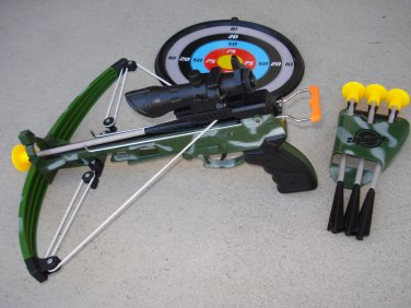 "Kids Camo Crossbow Junior Set with Kids Junior 14"" + 4 Suction Bolts + Shooting Target"
