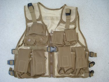 Kids Tactical Combat Vest Army Tan 9 Pockets Adjustable