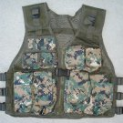 Kids Tactical Combat Vest Woodland Digital Camouflage 9 Pockets Adjustable