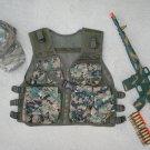 Kids Tactical Vest Woodland Digital Camo, Camo Baseball Cap, M16 Camo Dart Gun Rifle + FREE Grenade