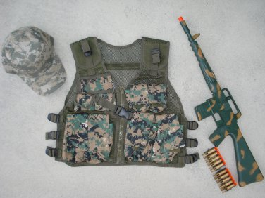 Kids Tactical Vest Woodland Digital Camo, Camo Baseball Cap, M16 Camo Dart Gun Rifle + FREE Grenade