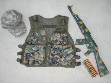 Kids Tactical Vest Woodland Digital Camo, Camo Baseball Cap, AK47 Camo Dart Gun Rifle + FREE Grenade