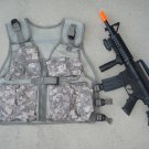 Kids Military Tactical Vest ACU Digital Camo, M16 Toy Machine Gun + FREE Grenade