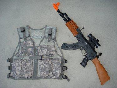 Kids Military Tactical Vest ACU Digital Camo, AK47 Toy Assault Rifle + FREE Grenade
