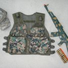 Kids Tactical Vest Woodland Camo, Baseball Cap Woodland Camo, AK47 Dart Gun Rifle + FREE Grenade