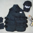 SWAT Commander Vest, Toy Pistol Grey Gold, SWAT Cap, Gloves, Handcuffs + FREE Glasses