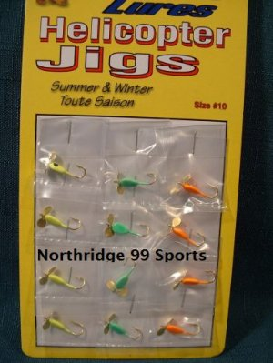 12 Helicopter Glow Jigs Ice Fishing Lures NEW