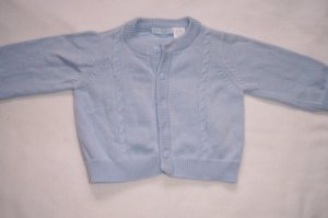 3-6 mo boys light blue button up sweater
