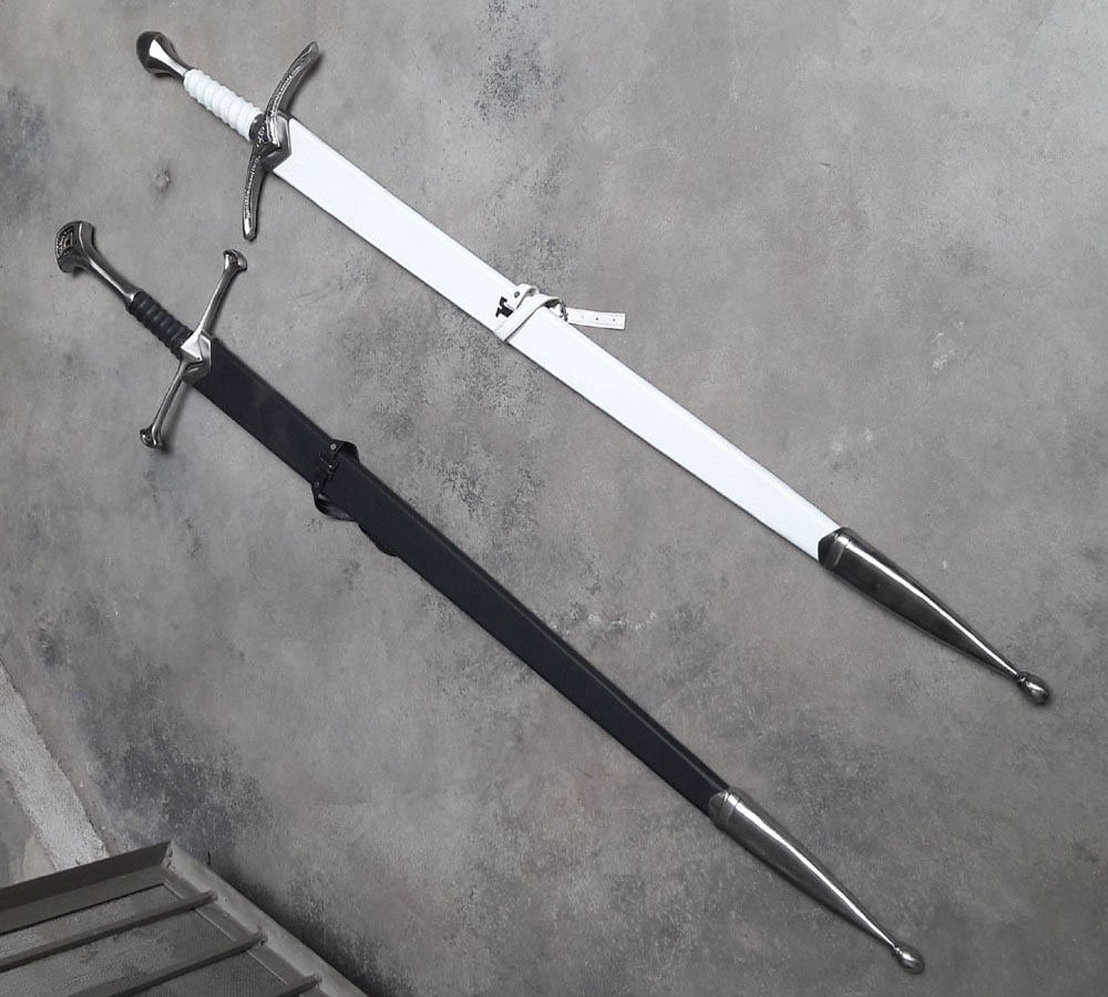 LOTR Anduril Sword of Aragorn + Glamdring of Gandalf with hardwood scabbard