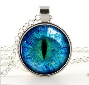 Cat Eye Necklace - Silver Glass Photo Pendant - Colorful Blue Eye Art with Chain and Gift Bag