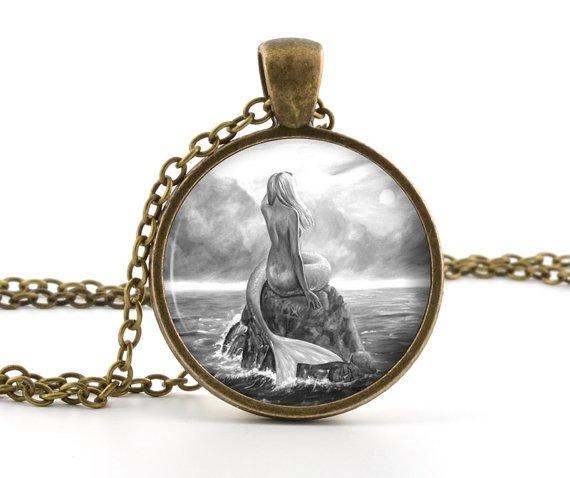 Mermaid Pendant - Necklace - Classic Mythological Creature Ocean Art - Mermaid Jewelry - Glass Dome