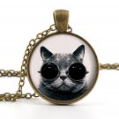 Steampunk Cat Pendant - Necklace - Photo Jewelry - Vintage Cool Cat Art