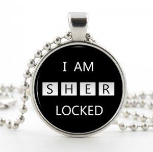 Sherlock Holmes Necklace - Silver Pendant - I am Sherlocked Memorable Quote Art