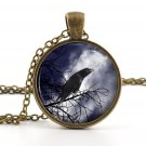 Vintage Raven Pendant - Necklace - Antique Sle Bird and Moon Picture Art