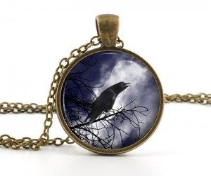 Vintage Raven Pendant - Necklace - Antique Sle Bird and Moon Picture Art