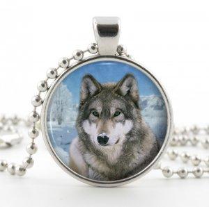 Gray Wolf Pendant - Necklace - Glass Silver Pendant - Snowy Grey Wolf Art - Wolf Jewelry