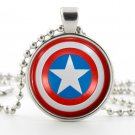 Captain America Necklace - Shield Picture Jewelry - Pendant - American Superhero Emblem Symbol Art