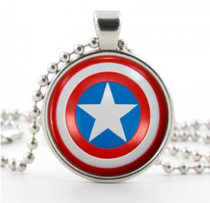 Captain America Necklace - Shield Picture Jewelry - Pendant - American Superhero Emblem Symbol Art