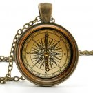 Vintage Compass Pendant Necklace - Old Fashioned Antique Style Compass Jewellery