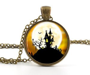Little Haunted House Pendant Necklace Spooky Full Moon Creepy Halloween Art Gift