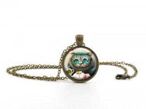 Alice in Wonderland Pendant Necklace - Cheshire Cat Jewellery - Vintage Bronze