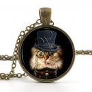 Steampunk Cat Necklace Picture Pendant - Cool Funny Hat Animal Kitten Jewellery