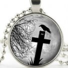 Halloween Jewellery - Necklace - Silver Picture Pendant - Black Raven on Cross