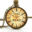 Time To Read Pendant - Necklace - Vintage Book Lover Clock Watch Art Jewellery