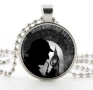 Silver Sherlock Holmes Pendant Necklace -Detective Fiction London Jewellery Gift