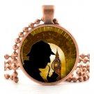 Copper Sherlock Holmes Pendant Necklace Spy Crime Mystery London Fan Art Jewelry