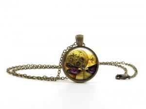 Purple Dragonfly Steampunk Clock Pendant Necklace - Vintage Golden Insect Art