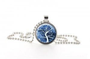 White Tree of Life Necklace Pendant - Snowy Christmas Style Charm Jewellery Gift