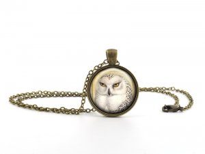 White Owl Necklace Pendant - Vintage Antique Bronze Bird Art Jewelry - Gift Bag