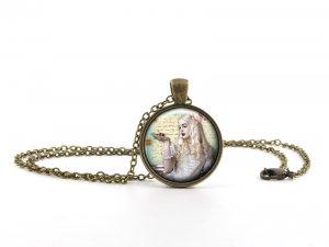 Alice in Wonderland Necklace Pendant - White Queen - Vintage Princess Jewellery