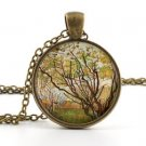 Van Gogh Necklace - Vintage Antique style - Tree Painting Art Picture Pendant