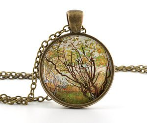 Van Gogh Necklace - Vintage Antique style - Tree Painting Art Picture Pendant