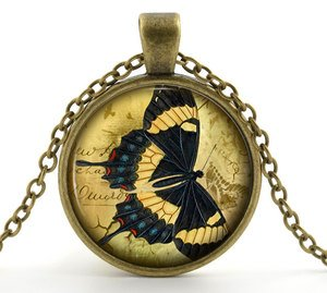 Butterfly Necklace Pendant Jewelry - Vintage Bronze Black and Yellow Insect Art