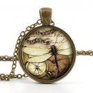Dragonfly Necklace Pendant - Vintage Bronze Compass Insect Bug Photo Art Jewelry
