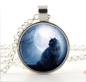 Silver Cat Pendant Necklace - Halloween Black Cat in Blue Moon Art Jewellery