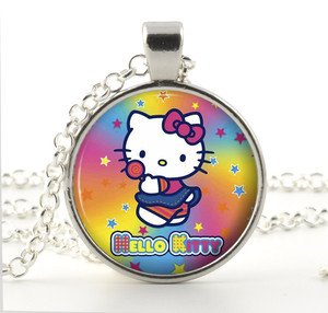 Hello Kitty Necklace Pendant Pink Yellow Blue Stars Little Girl Jewelry Kid Gift