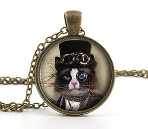 Black and White Little Kitten Steampunk Necklace Pendant - Cat Picture Jewelry