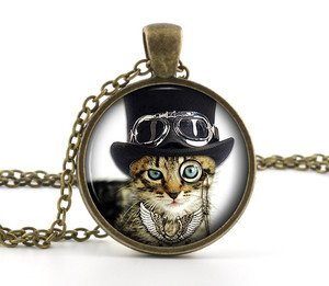 Steampunk Necklace Cat Picture Pendant - Cool Funny Eye Glass Kitten Jewellery